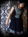 Black dress multicolored fishscale mermaid print - size S/M
