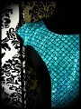 Black dress turquoise blue fishscale mermaid print - size M/L