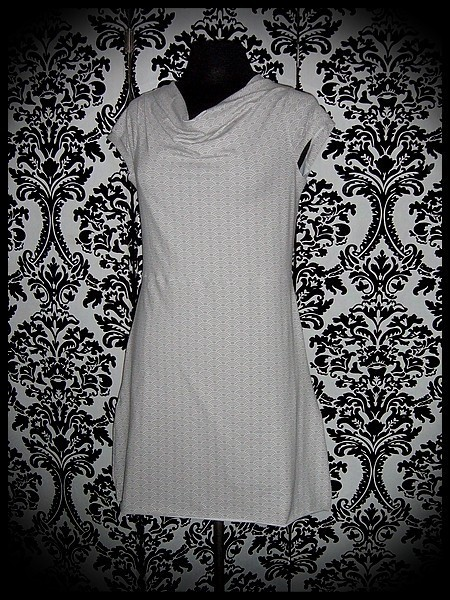 Light grey draped dress with pockets Japanese print - size S/M