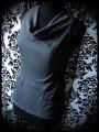Dark grey draped top with pockets - size S/M