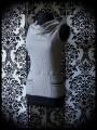 Haut à poches et col bénitier gris clair - taille XS/S