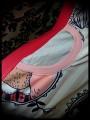 Robe à poche rouge beige motifs rétro détails corail - taille M
