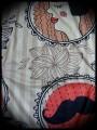 Robe à poche rouge beige motifs rétro détails bleus - taille S