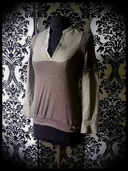 Taupe layered top w/ khaki green shirt - size S/M