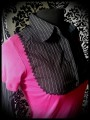 Hot pink layered top w/ black shirt - size XS/S