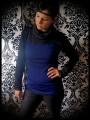 Royal blue sweater w/ cowl neck black glitter details - size S/M