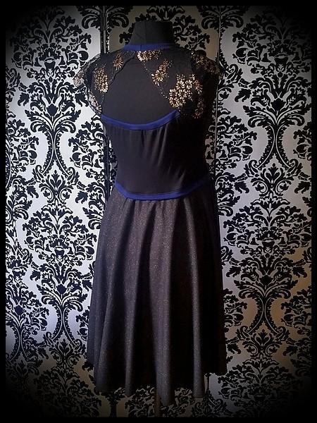 Black / gold dress royal blue details lace open back - size L