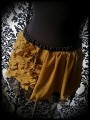 Mini jupe vert olive dentelle noire dorée - taille S/M