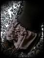 Dark grey mini skirt gold black lace details - size S/M