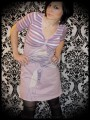 Dust pink dress Threadless Truly, Deeply in Love pink/white striped details - size S/M