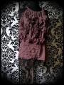 Mini jupe mauve dentelle noire dorée - taille M/L