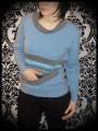 Sweat bleu gris poche détails rayures multicolores - taille S/M