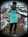 Dress w/ asymmetrical collar geometrical print