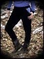 Black chino pants with pockets geometrical print