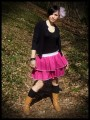Mini skirt raspberry pink ruffles - size S/M