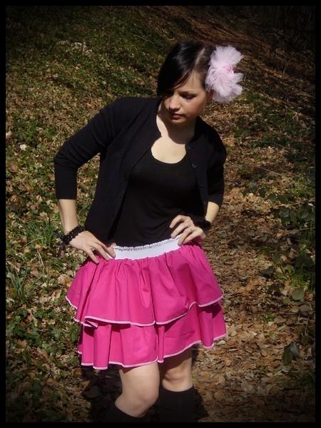 Mini jupe à volants rose vif taille élastiquée - taille S/M