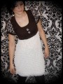 Brown/white dress mini ruffles & large buttons - size S