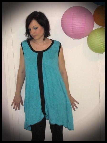 Asymmetric turquoise blue dress black details - size L/XL