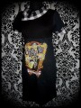 Robe noire Coffin Nail col asymétrique carreaux - taille S/M