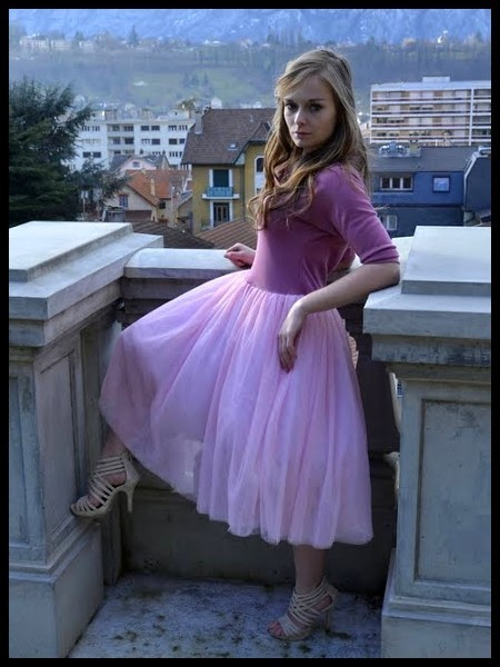 Robe vieux rose tulle rose pâle - taille XS/S