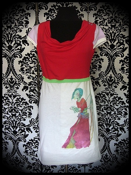 Robe blanche rouge lilas illustration A. Hess (1) - taille S/M