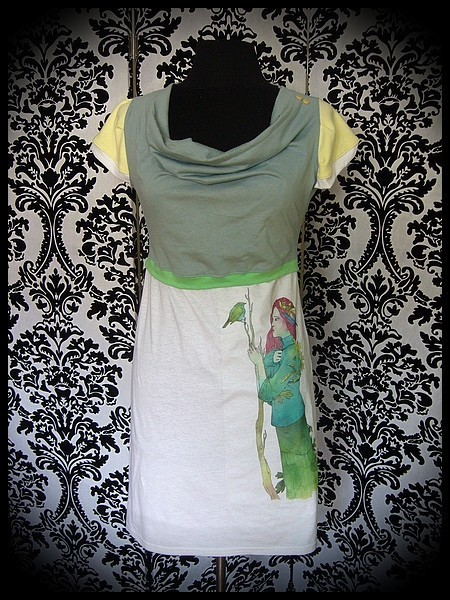 White celadon green pale yellow dress print by A. Hess (2) - size S/M