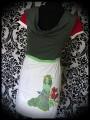 White khaki green dark red dress print by A. Hess (3) - size M/L