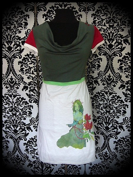 White khaki green dark red dress print by A. Hess (3) - size M/L