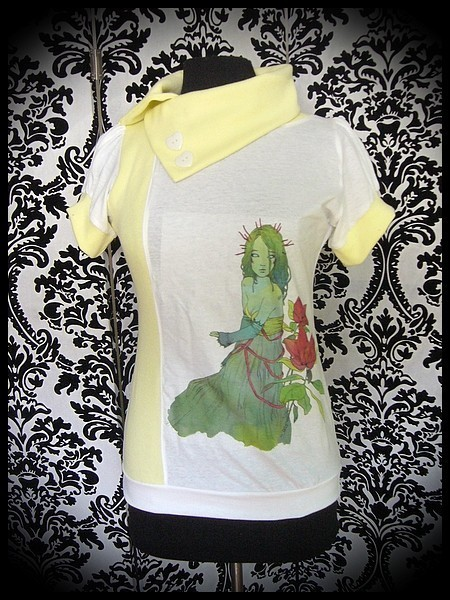 White pale yellow top print by A. Hess (3) - size S/M