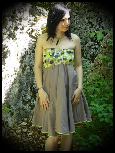 Strapless lime green/taupe dress - size XS/S