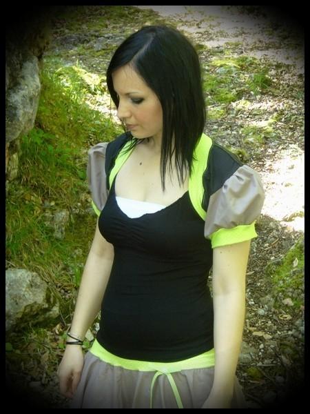 Lime green/black/taupe shrug - size M/L