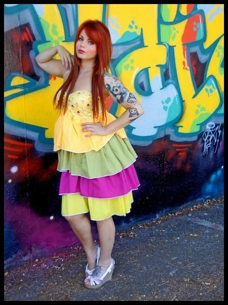 Halter dress ice cream print yellow/green/pink ruffles - size M/L