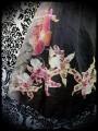 Robe noire soie imprimée fleurs + foulard - taille S/M