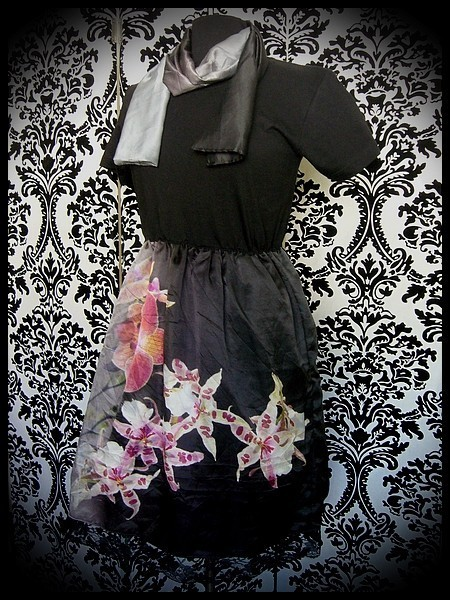 Black dress flowers printed silk + scarf - size S/M