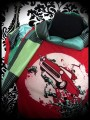 Red/green top Threadless Undead Joyride + scarf - size XS/S