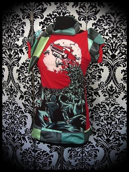 Haut Threadless rouge/vert Undead Joyride + foulard - taille XS/S