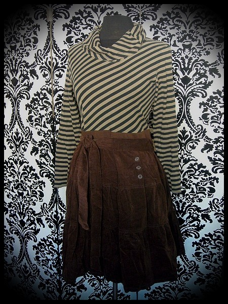 Brown black khaki green dress cowl neck - size S/M