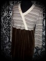 Brown cream striped dress crossover effect - size S/M