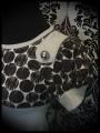 Light grey brown dress Threadless bear and little girl print - size S/M