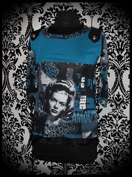 Teal black top retro pin up print - size XS/S