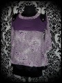 Purple grey black top retro leopard and lace print - size S/M