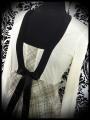 Beige/cream dress black satin bow - size S/M