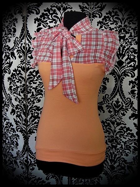 Pussy bow peach/orange top plaid print - size XS/S