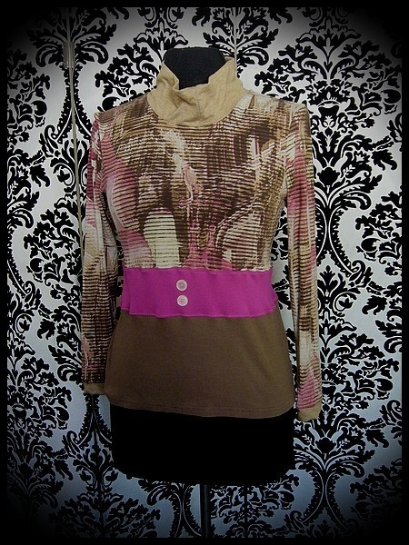 Pink/beige/brown top w/ funnel collar - size S/M