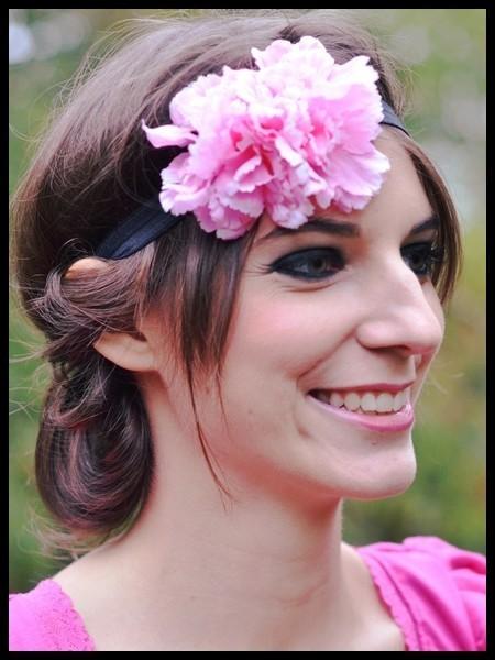 Bandeau serre-tête fleurs rose clair