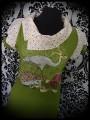 Olive green tunic top asymmetric split collar Threadless sewing basket - size M
