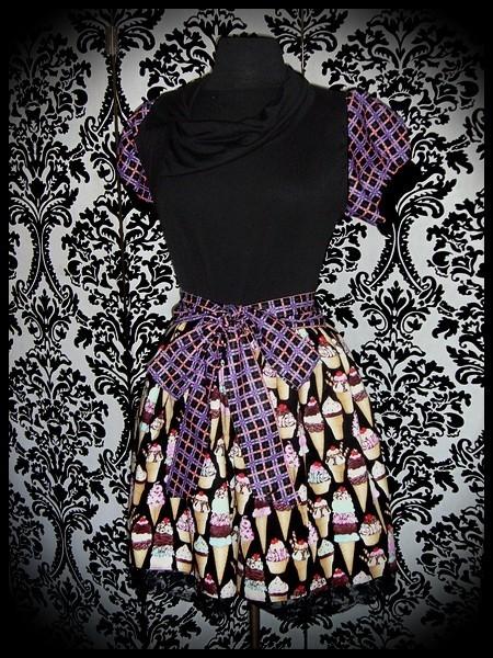 Black dress asymmetric split collar ice cream print - size L