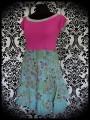 Celadon green/pink dress floral print - size S/M