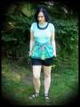 Mint blue top tropical print - size M