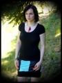 Mint blue mini skirt w/ black panels - size L/XL